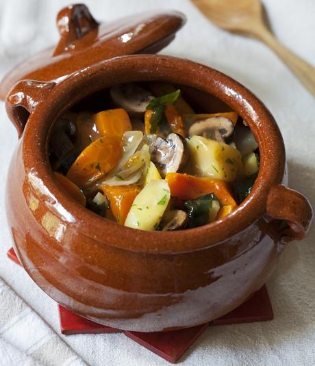 Recepta d'estofat de verdures amb seitan i bolets per Montse Valllory