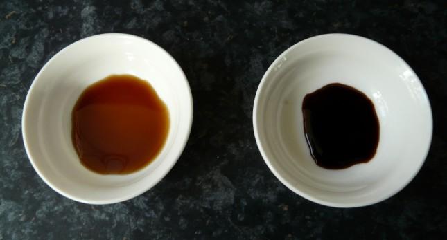 El color també mostra la diferència de qualitat entre salsa de soja comercial vs ecològica