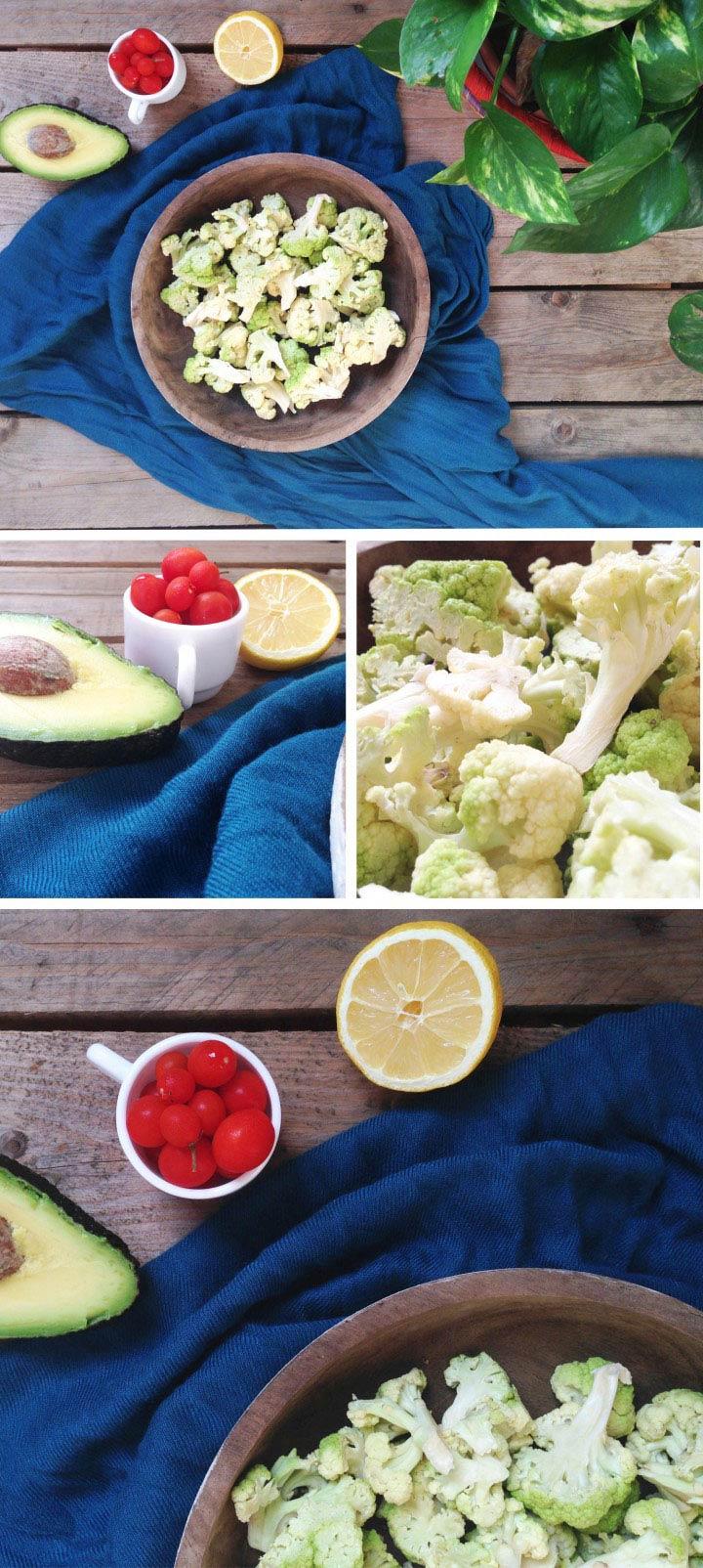 Ingredients amanida broquil, alvocat i tomàquet