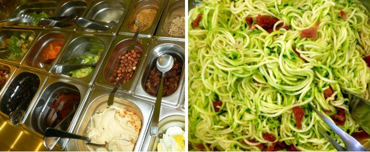 Part del bufet de freds i els famosos espaguetis de carbassó