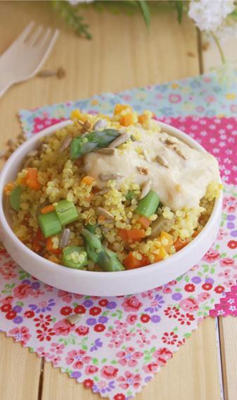 Amanida russa de quinoa amb maionesa de carxofa