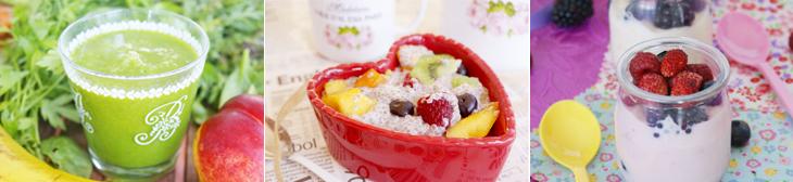 "Batut verd, llavors de chía amb fruita, ""iogurt"" d'anacards"