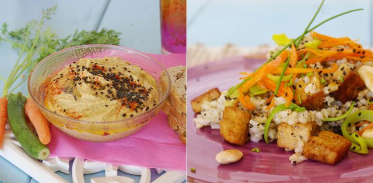 Hummus i wok d'arrós integral amb tempeh