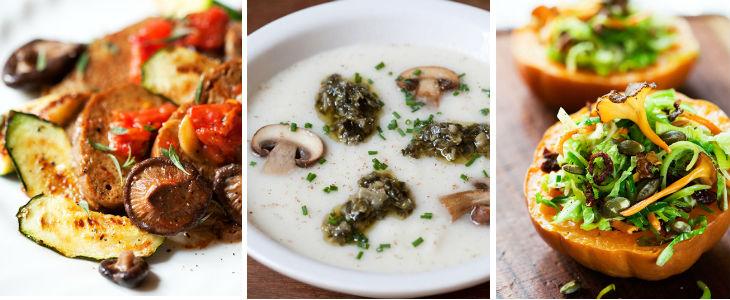 Receptes de la Montse Vallory: Seitan a la planxa amb bolets, crema de coliflor i bolets, saltat de col amb porro i camagrocs Foto: Pau Esculies