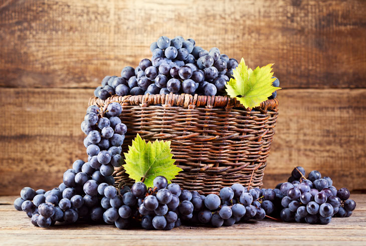 grape in wooden basket