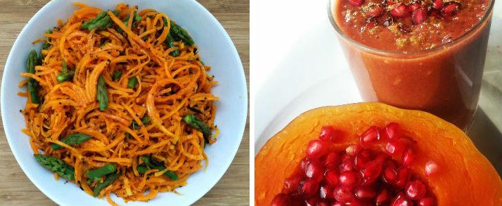 Espagueti de carbassa crua i batut de carbassa i caqui. Fotos: Núria Roura i Montse Reus