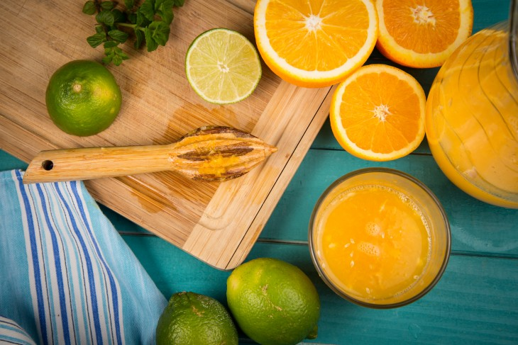 homemade orange and lemon juice