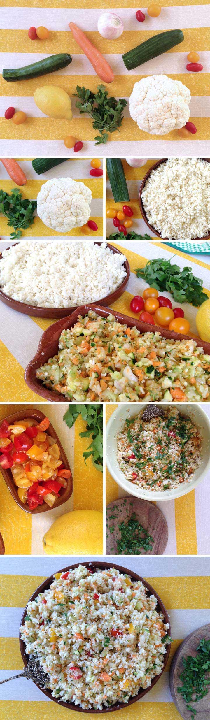 Ingredients i elavoracio tabule d'arròs crudivegà