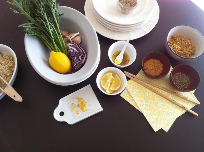 Ingredients amanida col llombarda arròs i espigalls
