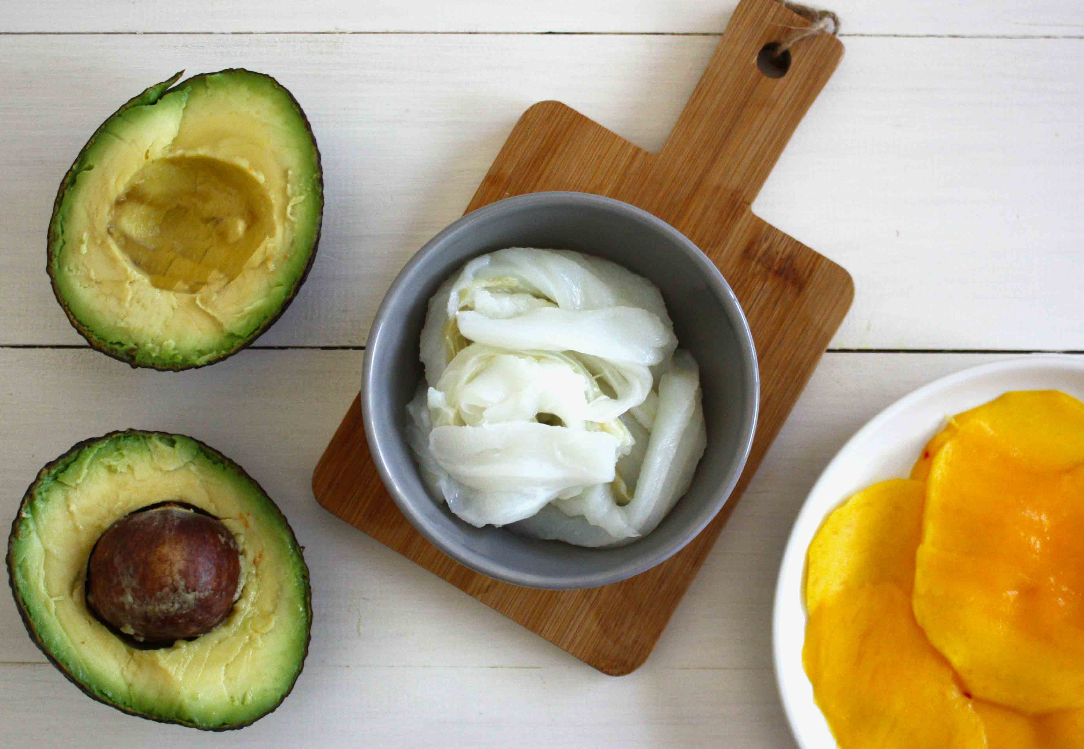 Ingredients carpaccio de mango amb bacallà esqueixat