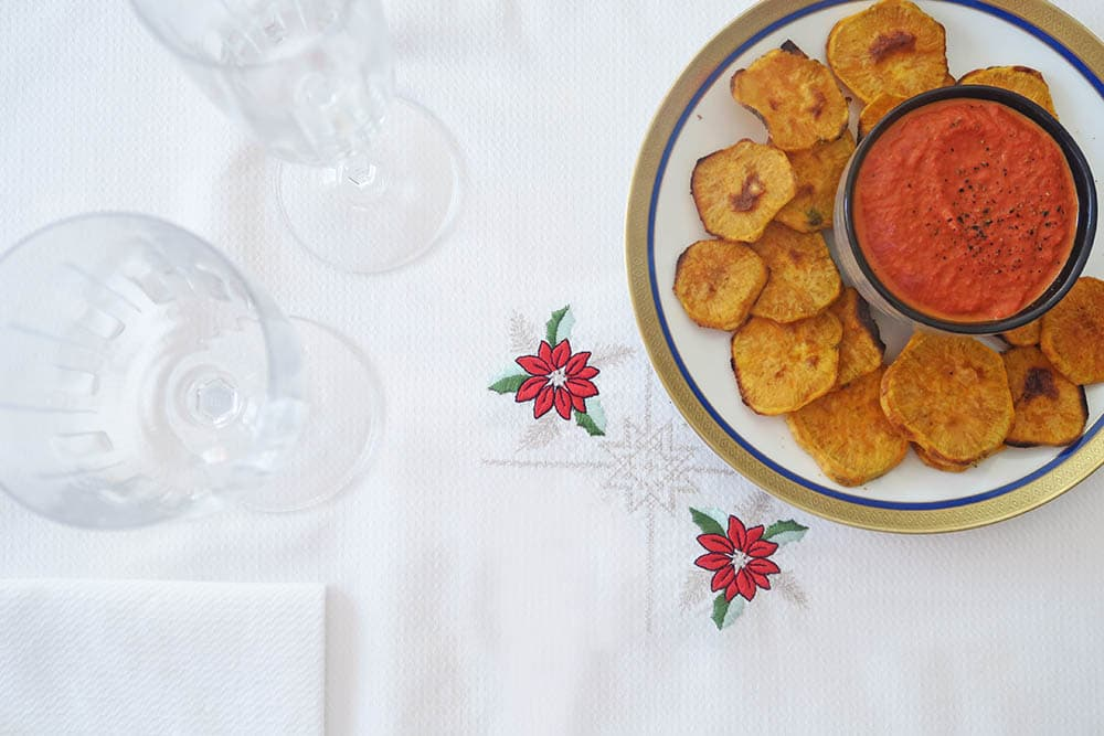 Aperitius saludables per Nadal chips de boniato