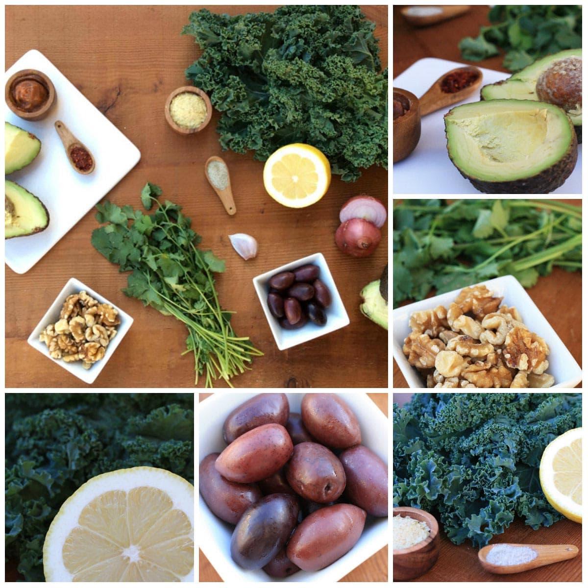 Ingredients d'amanida de kale