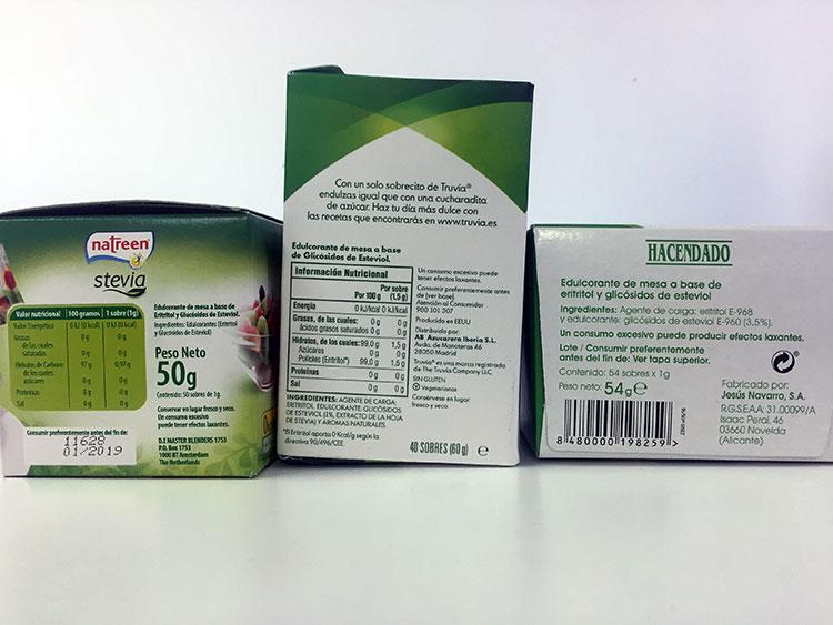Etiquetes amb composició nutricional de preparats d'estèvia