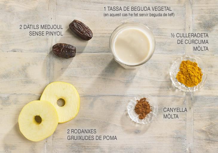 Ingredients recepta cúrcuma latte amb rosquilles de poma Fotos: Becky Lawton