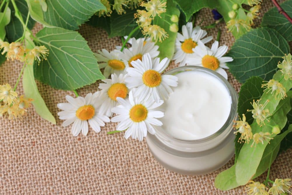 organic skincare cream cosmetic product lime blossom chamomile fresh flowers, canvas background ** Note: Shallow depth of field