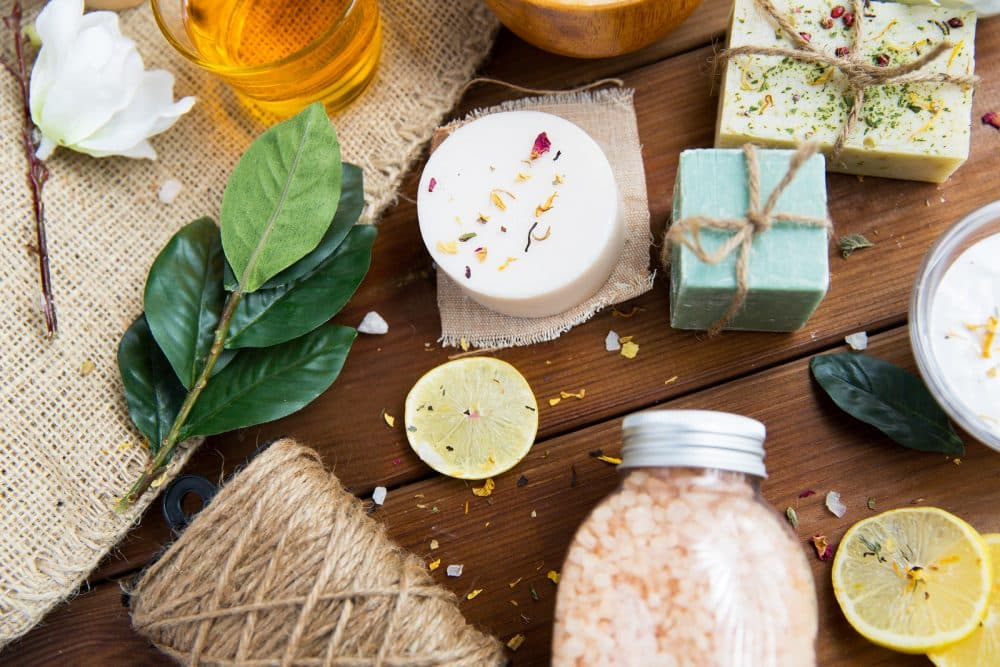 beauty, spa, therapy, natural cosmetics and wellness concept - c