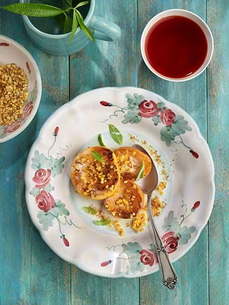 Préssecs i nectarines rostits amb ametlla crocant