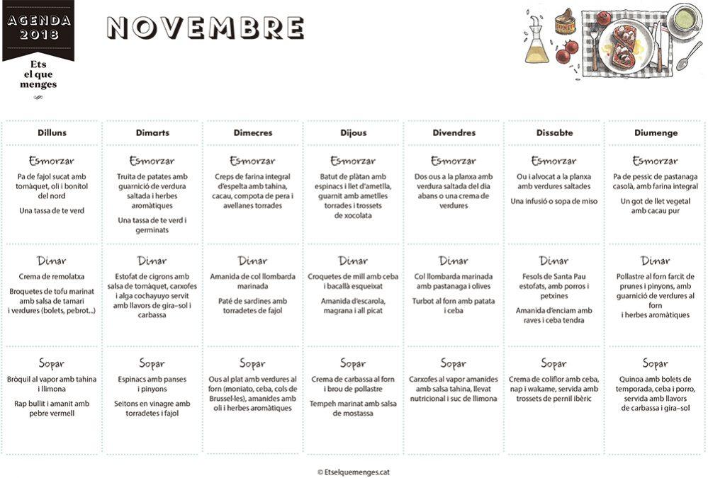 Menú de novembre. Adquireix l'Agenda de l'ETS on trobaràs un menú per a cada mes de l'any
