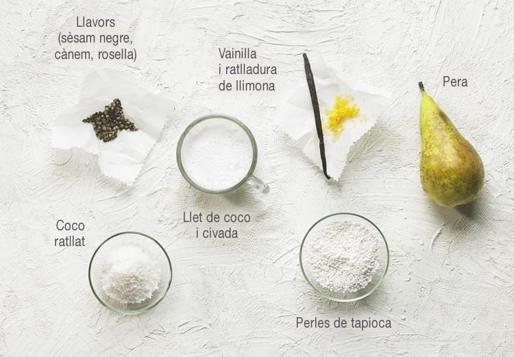 Esmorzar blanc de tapioca amb vainilla, pera i llimona