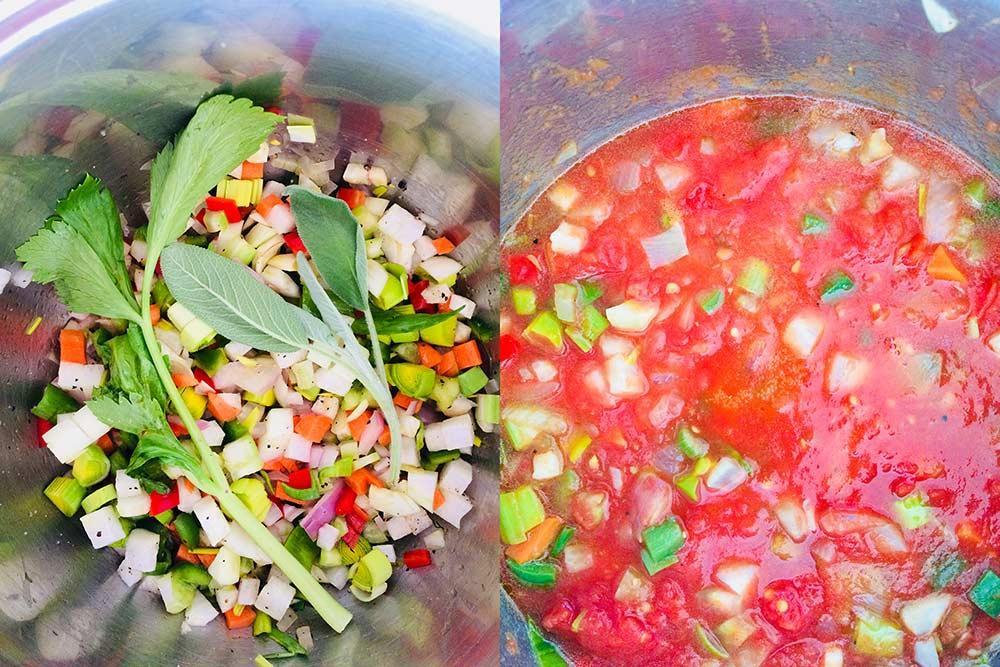 Sopa màgica de tomàquet i azukis amb tortillas cruixents