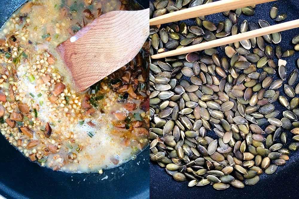 Reforç de tardor de risotto de fajol amb rovellons deliciosos, cruixent d'espècies i protecció extra de carbassa.
