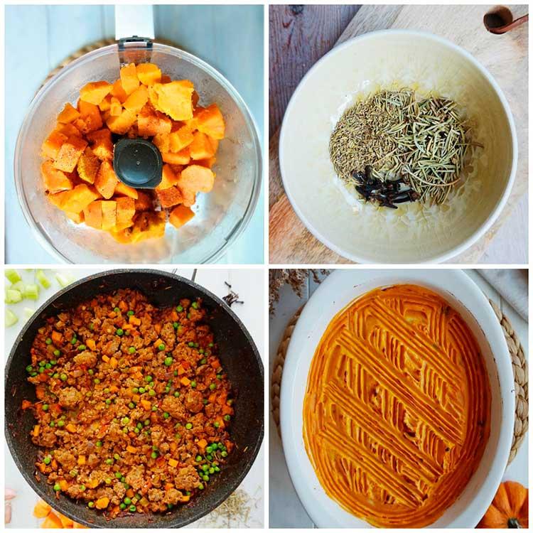 Pasos a seguir en la recepta de pastís de carn especiat amb crema de moniato
