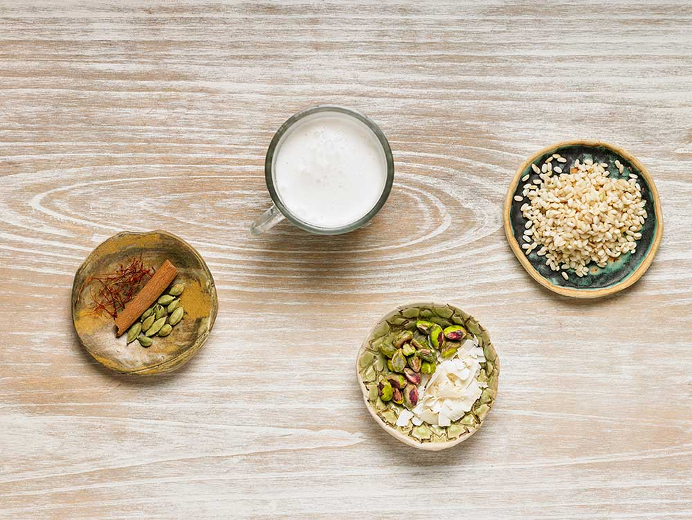 Ingredients d'arròs amb llet vegetal