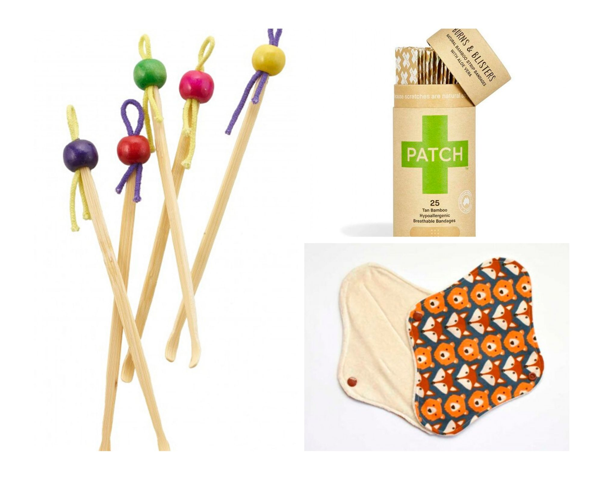 Bastonets, tiretes i compresa de bambú