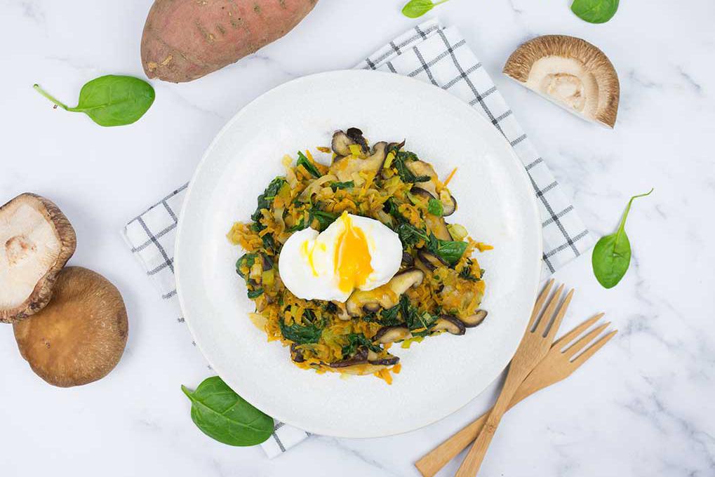 Saltejat de verudres, moniato i ou