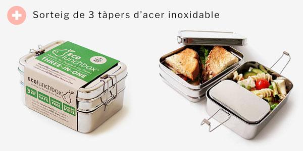 Sorteig Tàpers d'acer inoxidable Eco lunch box 3 en 1