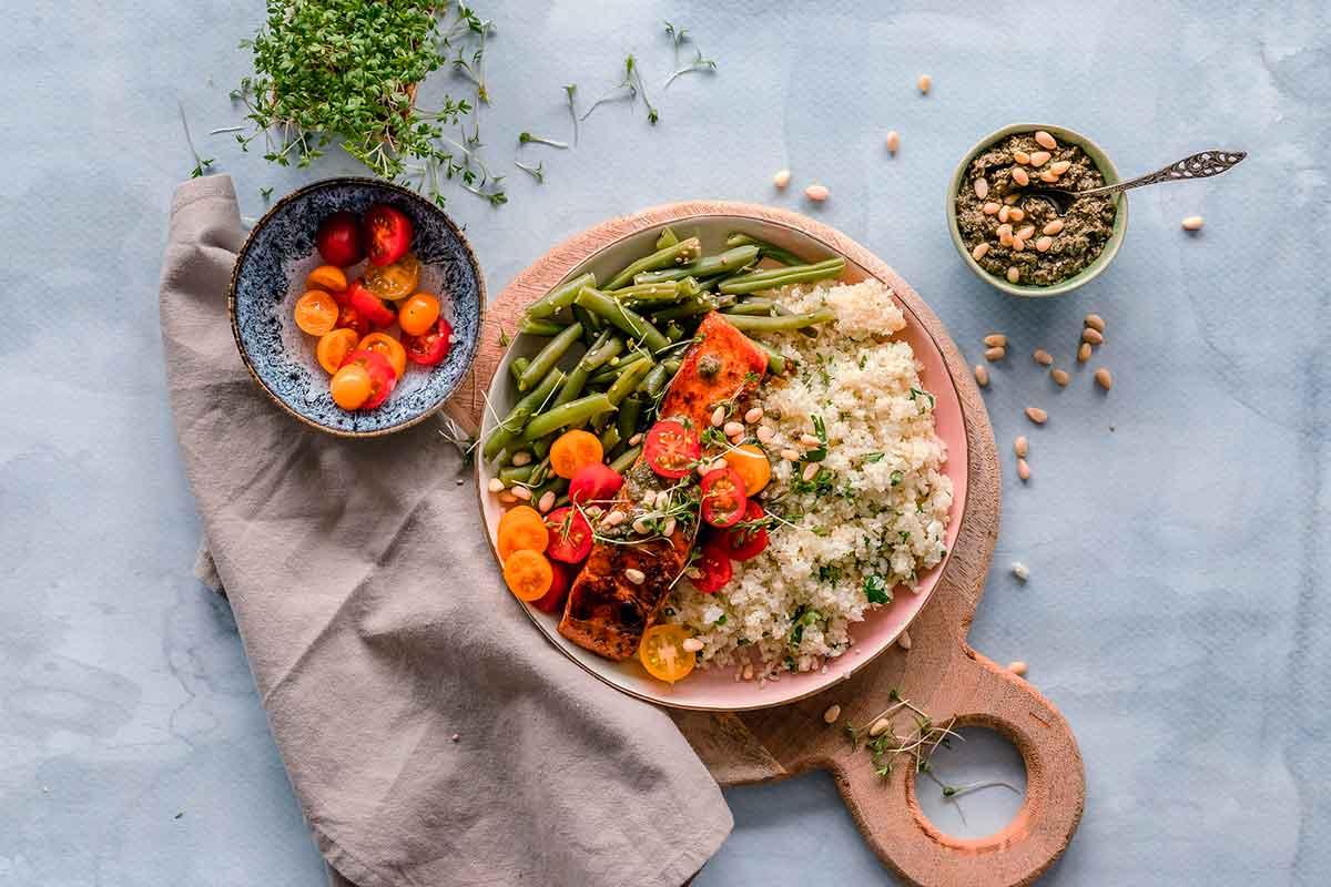 Salmó amb verdura