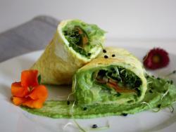Wraps de truita amb crema de bròquil i verdures