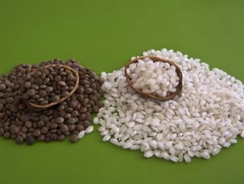 Setmana 7: Un plat de llenties amb arròs, pipes de carbassa i unes fulles d'escarola. Endavant amb el ferro!