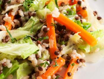 Arròs integral de pastanaga, col i ceba