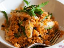 Quinoa amb bacallà i tomàquet