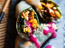 Rotllets de verduretes i peix amb salsa 4 sabors