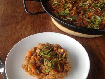 Arròs integral amb verdures i tofu fumat