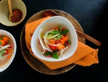 Cebiche probiòtic de carbassa, síndria i alfàbrega