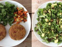 Hamburgueses veganes de fajol i amanida de kale amb alvocat i carxofes al forn, un sopar estratègic per gaudir en parella