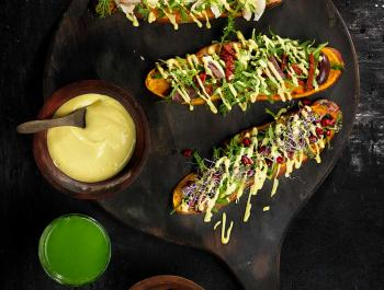 Torrades de moniato amb maionesa vegana antiinflamatòria