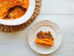 Pastís de carn especiat amb crema de moniato