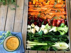 Rostit de delicioses verdures d'hivern en plenitud i abundància