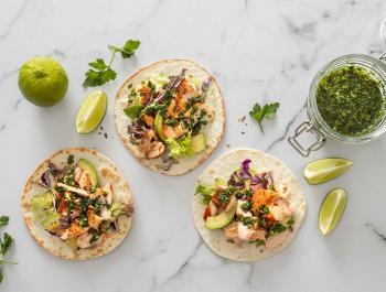 Tacos de salmó i salsa chimicurri